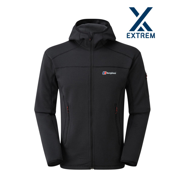 Extrem Berghaus PRAVITALE 2.0 EXTREM FLEECE HOODIE DARK GREY / BLACK Outlet Online