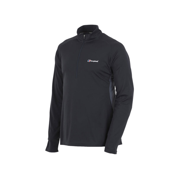 Men Berghaus LONG SLEEVE ZIP NECK TECH T-SHIRT BLACK / DARK GREY Outlet Online