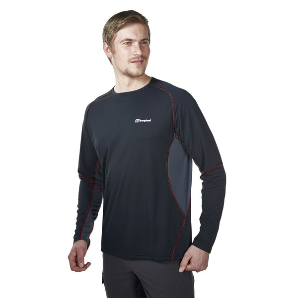 Men Berghaus LONG SLEEVE CREW NECK TECH T-SHIRT BLACK / DARK GREY Outlet Online