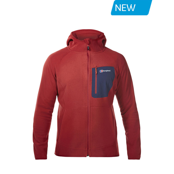 Men Berghaus DECEPTION FLEECE HOODIE DARK RED Outlet Online