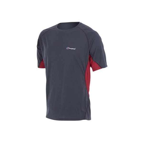 Men Berghaus SHORT SLEEVE CREW NECK TECH T-SHIRT DARK GREY / RED Outlet Online