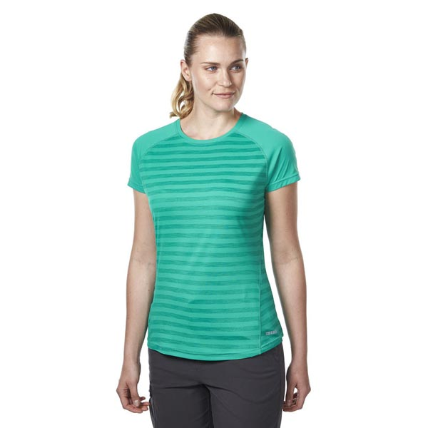 Women Berghaus STRIPED SHORT SLEEVE BASECREW DARK GREEN Outlet Online