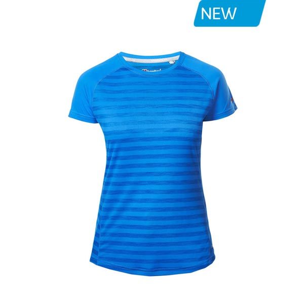 Women Berghaus STRIPED SHORT SLEEVE BASECREW BLUE Outlet Online