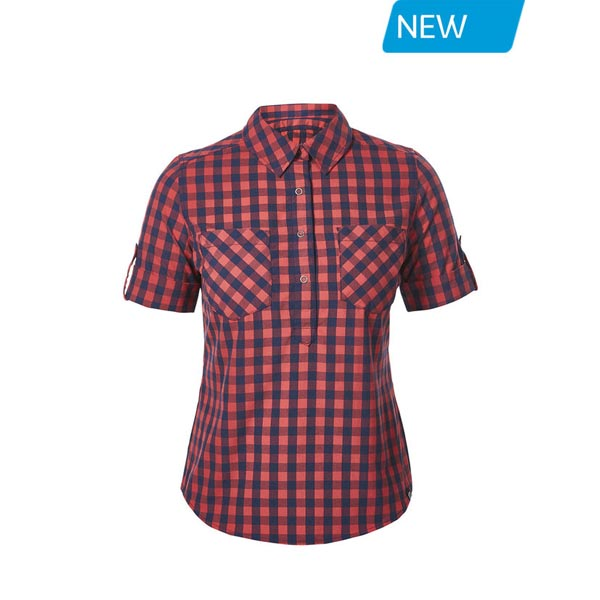 Women Berghaus EXPLORER 2.0 SHORT SLEEVE SHIRT RED SMALL CHECK Outlet Online