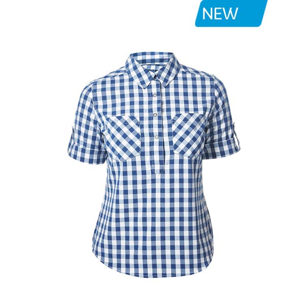 Women Berghaus EXPLORER 2.0 SHORT SLEEVE SHIRT BLUE SMALL CHECK Outlet Online