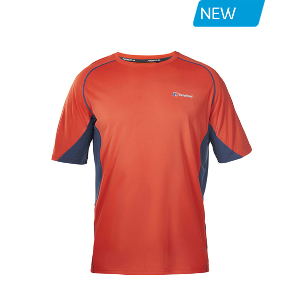Men Berghaus SHORT SLEEVE CREW NECK TECH T-SHIRT RED / DARK BLUE Outlet Online