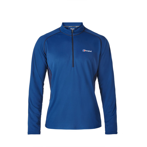 Men Berghaus LONG SLEEVE ZIP NECK TECH T-SHIRT DARK BLUE Outlet Online