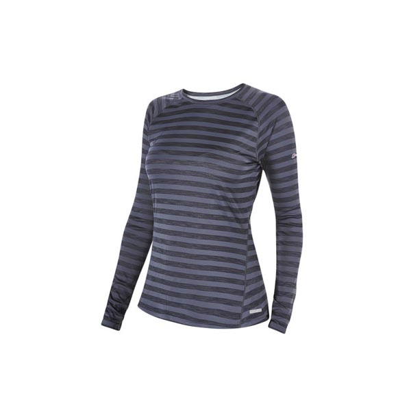 Women Berghaus STRIPED TECH T-SHIRT DARK GREY Outlet Online