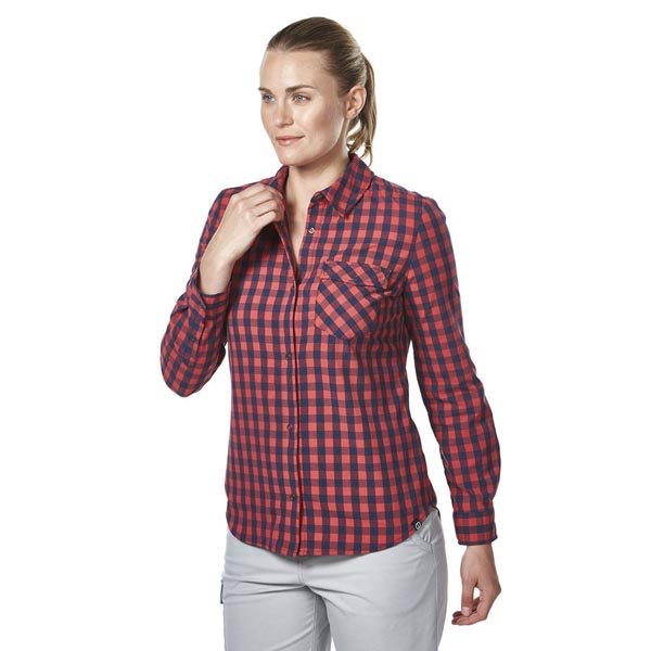 Women Berghaus EXPLORER 2.0 LONG SLEEVE SHIRT RED SMALL CHECK Outlet Online