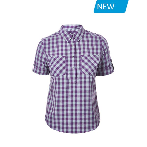 Women Berghaus EXPLORER 2.0 SHORT SLEEVE SHIRT PURPLE SMALL CHECK Outlet Online